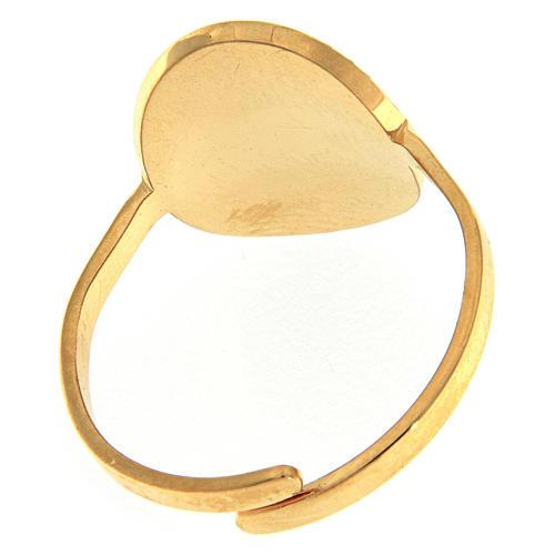 Anello acciaio dorato Madonna Medjugorje dorata 2