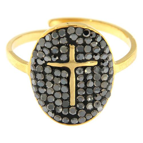 Bague Medjugorje acier doré croix dorée avec cristaux noirs 3