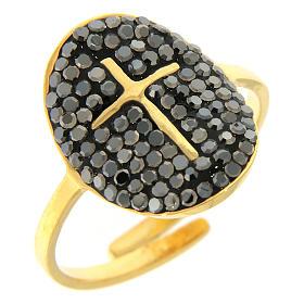 Anello Medjugorje acciaio dorato croce dorata con brillantini di colore nero s1