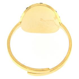 Anello Medjugorje acciaio dorato croce dorata con brillantini di colore nero s2
