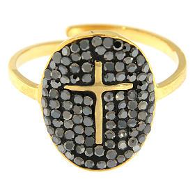 Anello Medjugorje acciaio dorato croce dorata con brillantini di colore nero s3
