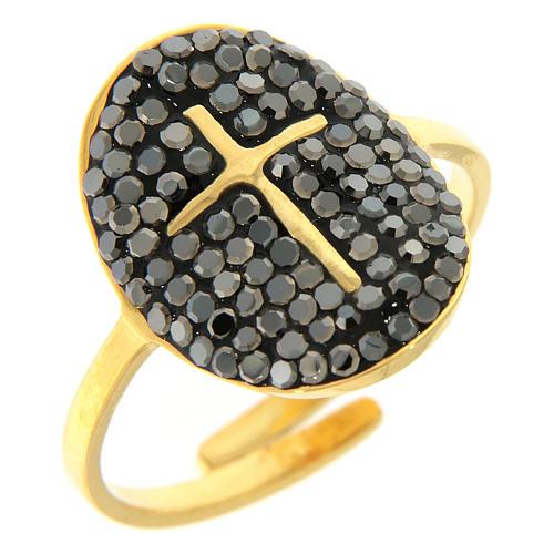 Anello Medjugorje acciaio dorato croce dorata con brillantini di colore nero 1