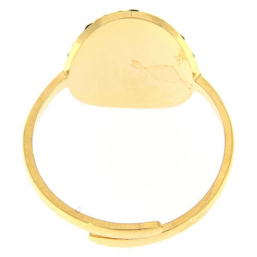 Anello Medjugorje acciaio dorato croce dorata con brillantini di colore nero 2
