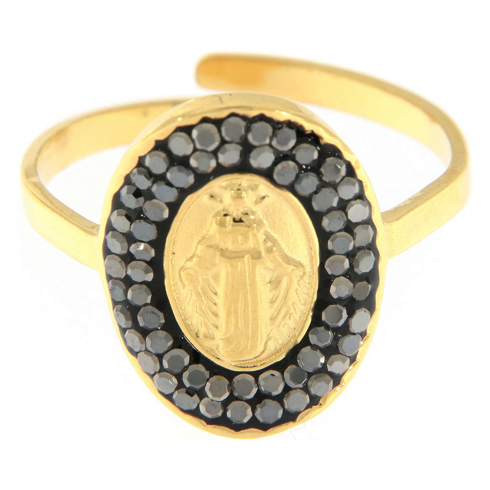 Bague acier doré Notre-Dame Medjugorje dorée avec cristaux noirs 4
