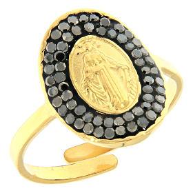 Bracelets, dizainiers: Bague acier doré Notre-Dame Medjugorje dorée avec cristaux noirs