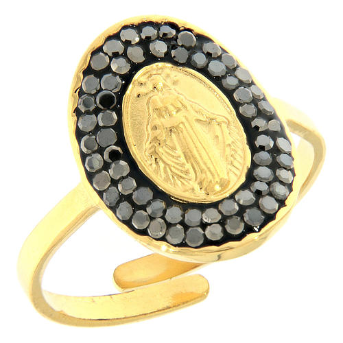 Bague acier doré Notre-Dame Medjugorje dorée avec cristaux noirs 1