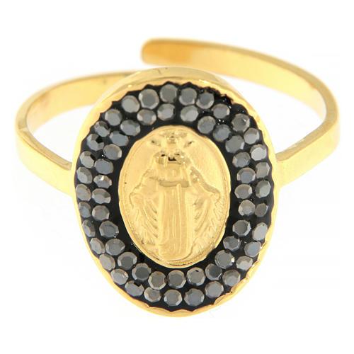 Bague acier doré Notre-Dame Medjugorje dorée avec cristaux noirs 3