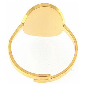 Anello acciaio dorato Madonna Medjugorje dorata con brillantini neri s2