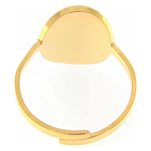 Anello acciaio dorato Madonna Medjugorje dorata con brillantini neri 2