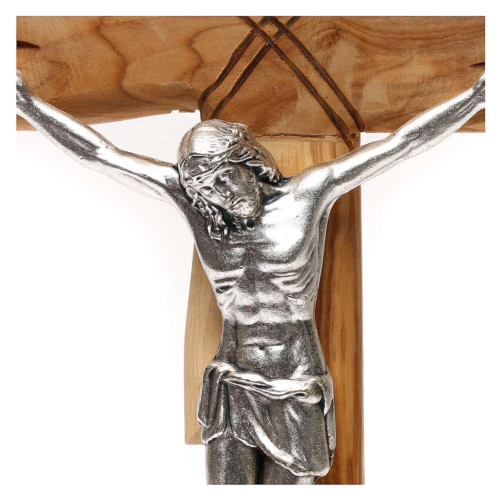 Medjugorje crucifix in olive wood Jesus Christ in silver 33x17 cm 4