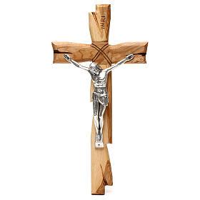 Medjugorje crucifix in olive wood Jesus Christ in silver 33x17 cm s1