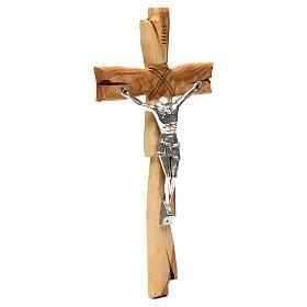 Medjugorje crucifix in olive wood Jesus Christ in silver 33x17 cm s4