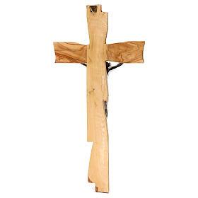 Medjugorje crucifix in olive wood Jesus Christ in silver 33x17 cm s5