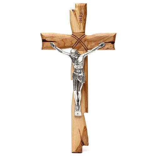 Medjugorje crucifix in olive wood Jesus Christ in silver 33x17 cm 1