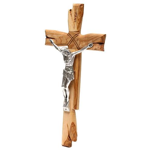Medjugorje crucifix in olive wood Jesus Christ in silver 33x17 cm 3