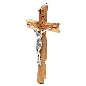 Crucifix Medjugorje olivier Jésus-Christ argenté 20x10 cm s2