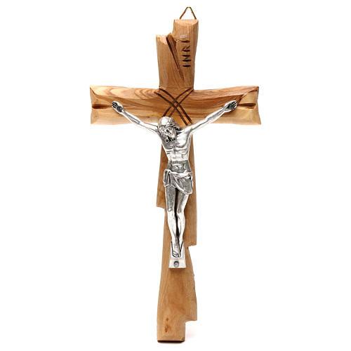 Crucifix Medjugorje olivier Jésus-Christ argenté 20x10 cm 1