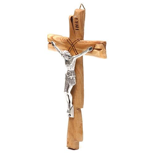 Crucifix Medjugorje olivier Jésus-Christ argenté 20x10 cm 2
