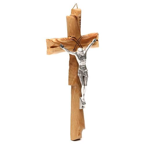 Crucifix Medjugorje olivier Jésus-Christ argenté 20x10 cm 3