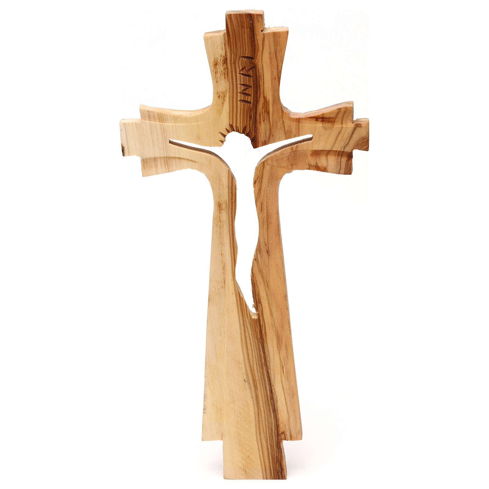Crocifisso legno ulivo intagliato Medjugorje 25x13 cm 4