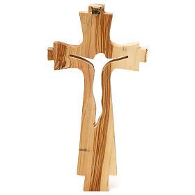 Crocifisso legno ulivo intagliato Medjugorje 25x13 cm s3