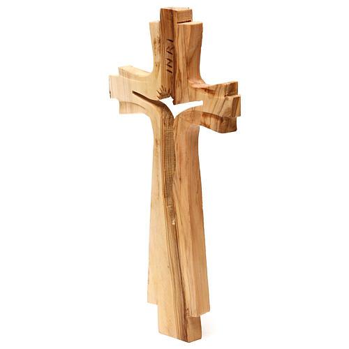 Crocifisso legno ulivo intagliato Medjugorje 25x13 cm 2