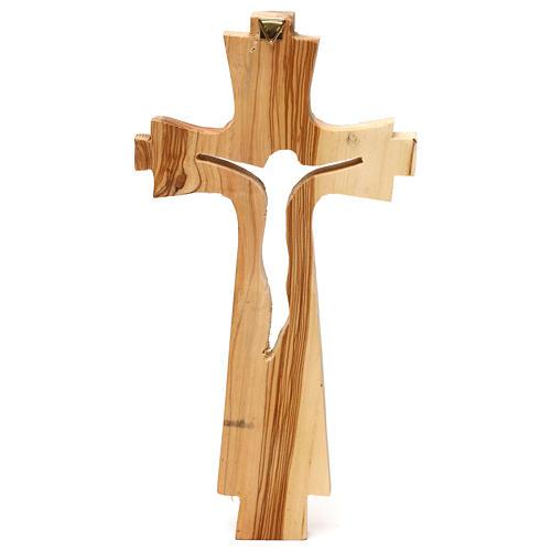 Crocifisso legno ulivo intagliato Medjugorje 25x13 cm 3