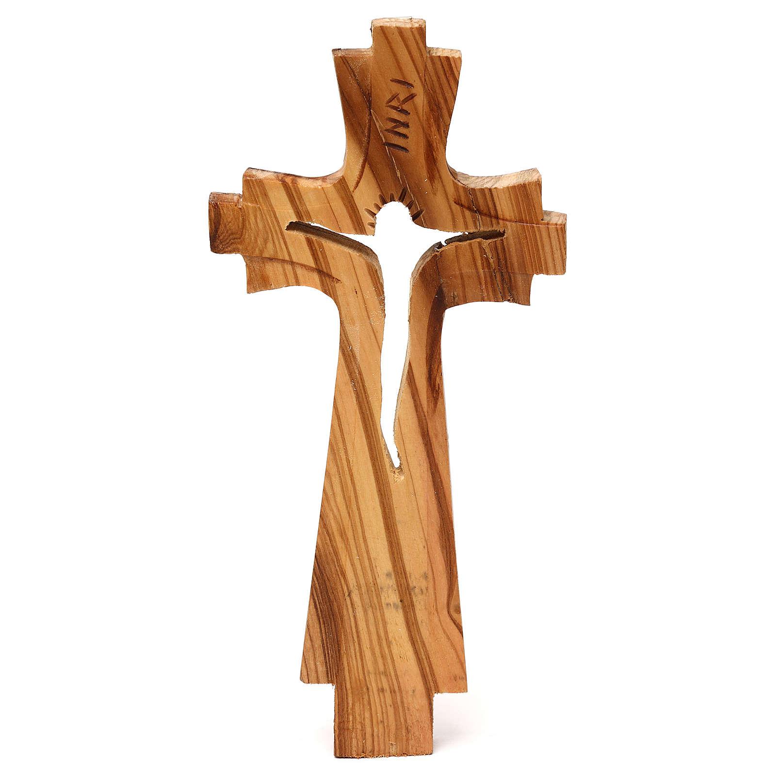Crocifisso di legno d'ulivo intagliato Medjugorje 23x10 cm 4