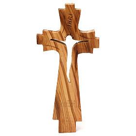 Crocifisso di legno d'ulivo intagliato Medjugorje 23x10 cm s1