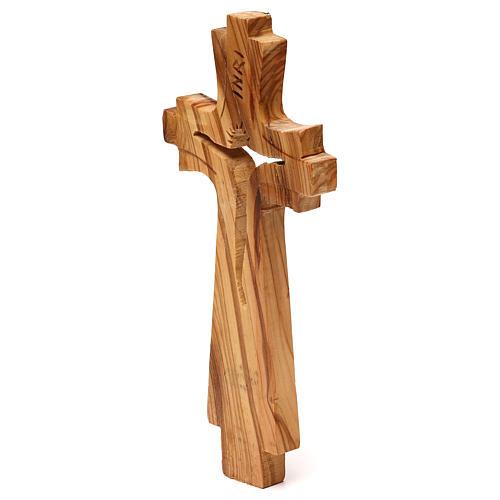 Crocifisso di legno d'ulivo intagliato Medjugorje 23x10 cm 2