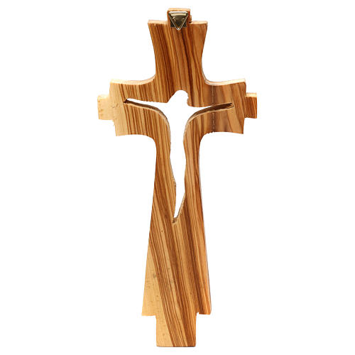 Crocifisso di legno d'ulivo intagliato Medjugorje 23x10 cm 3