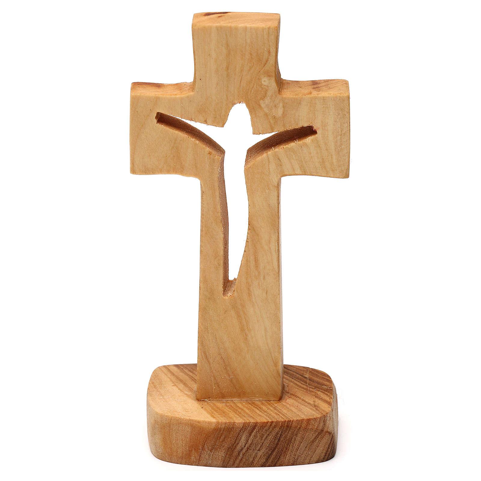 Wood cross in carved olive wood Medjugorje 12x6 cm 4