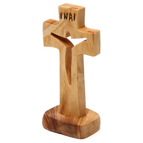 Wood cross in carved olive wood Medjugorje 12x6 cm 2