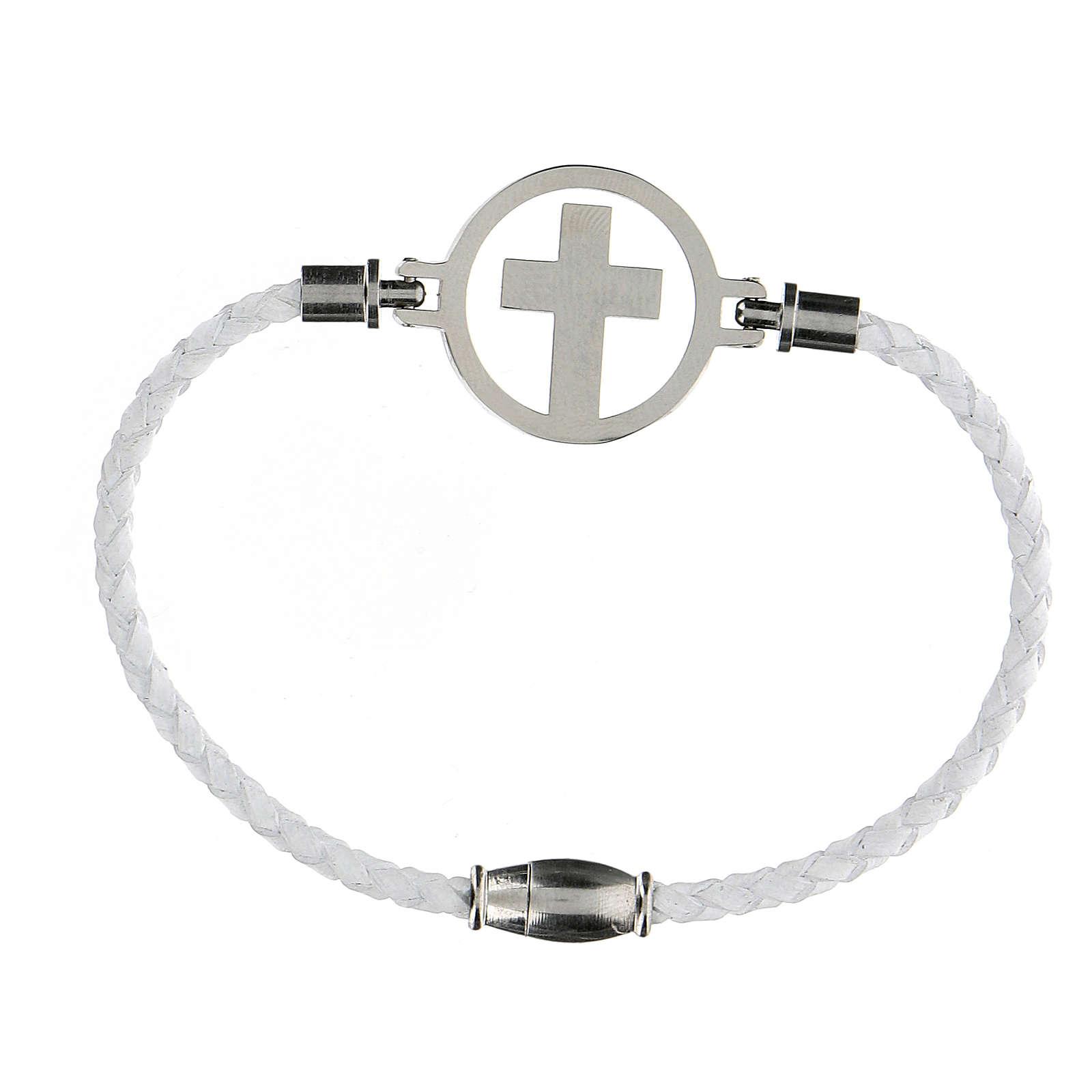 Pulsera Cruz plata Medjugorje blanca 4