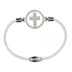 Pulsera Cruz plata Medjugorje blanca s1