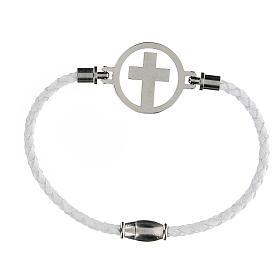 Pulsera Cruz plata Medjugorje blanca s2