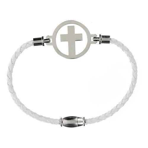 Pulsera Cruz plata Medjugorje blanca 1