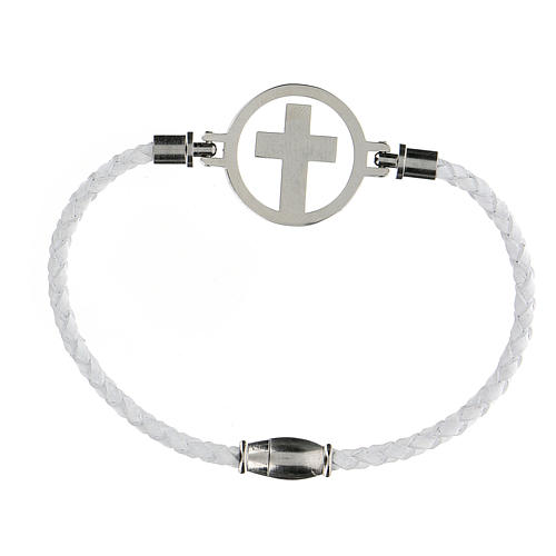 Pulsera Cruz plata Medjugorje blanca 2