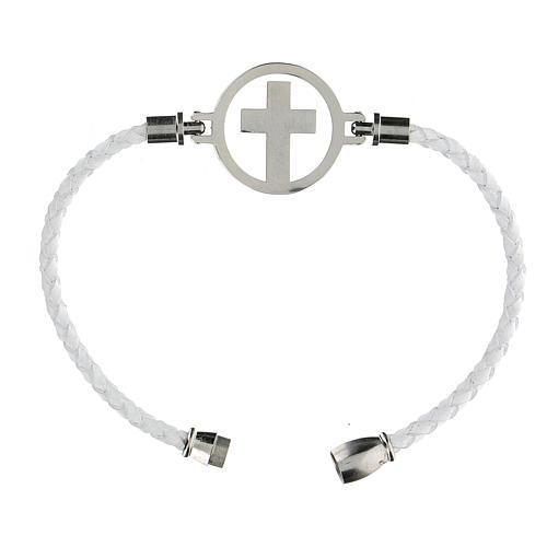 Pulsera Cruz plata Medjugorje blanca 3