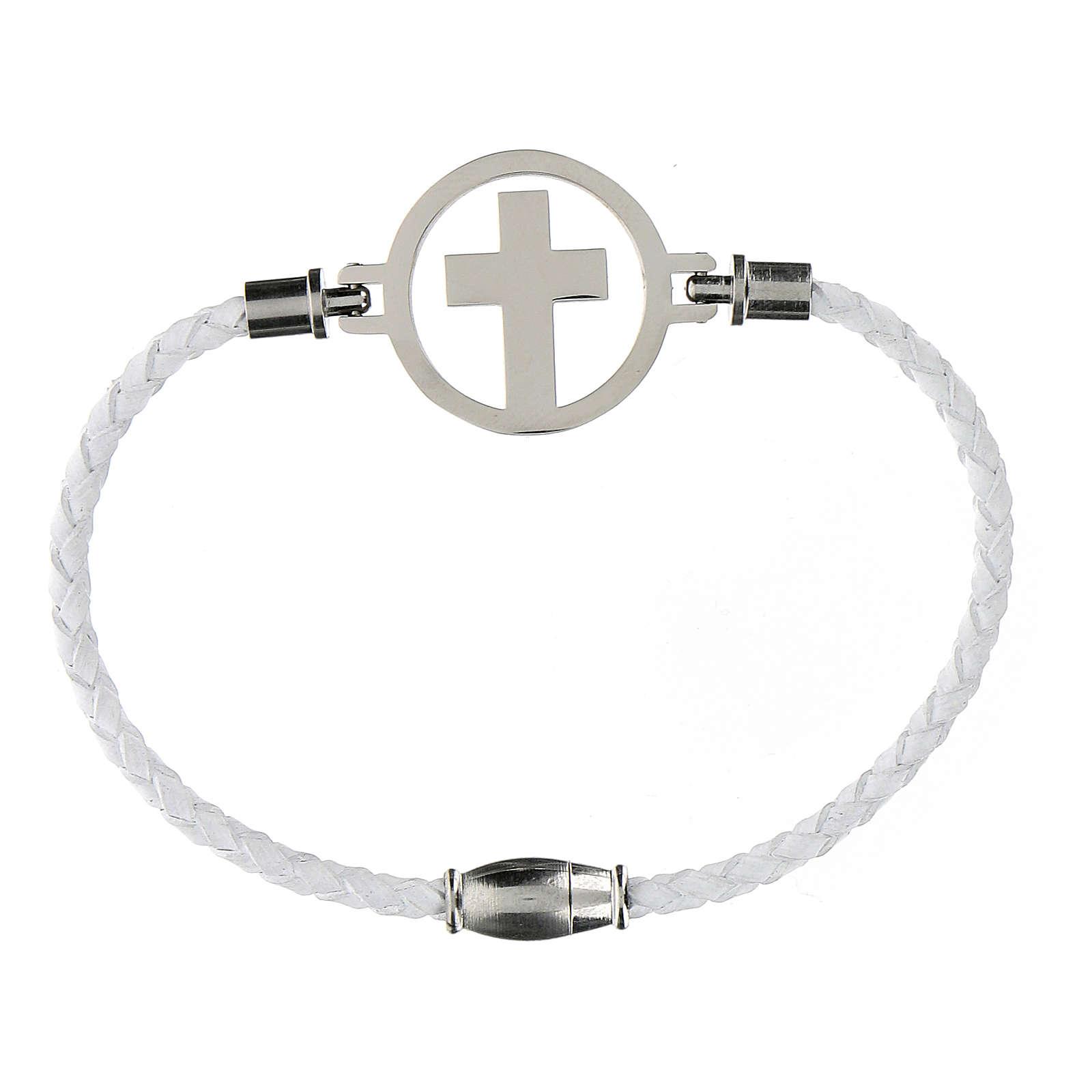 Bracelet croix argent Medjugorje blanc 4