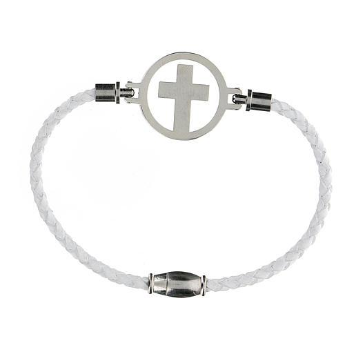 Bracelet croix argent Medjugorje blanc 2