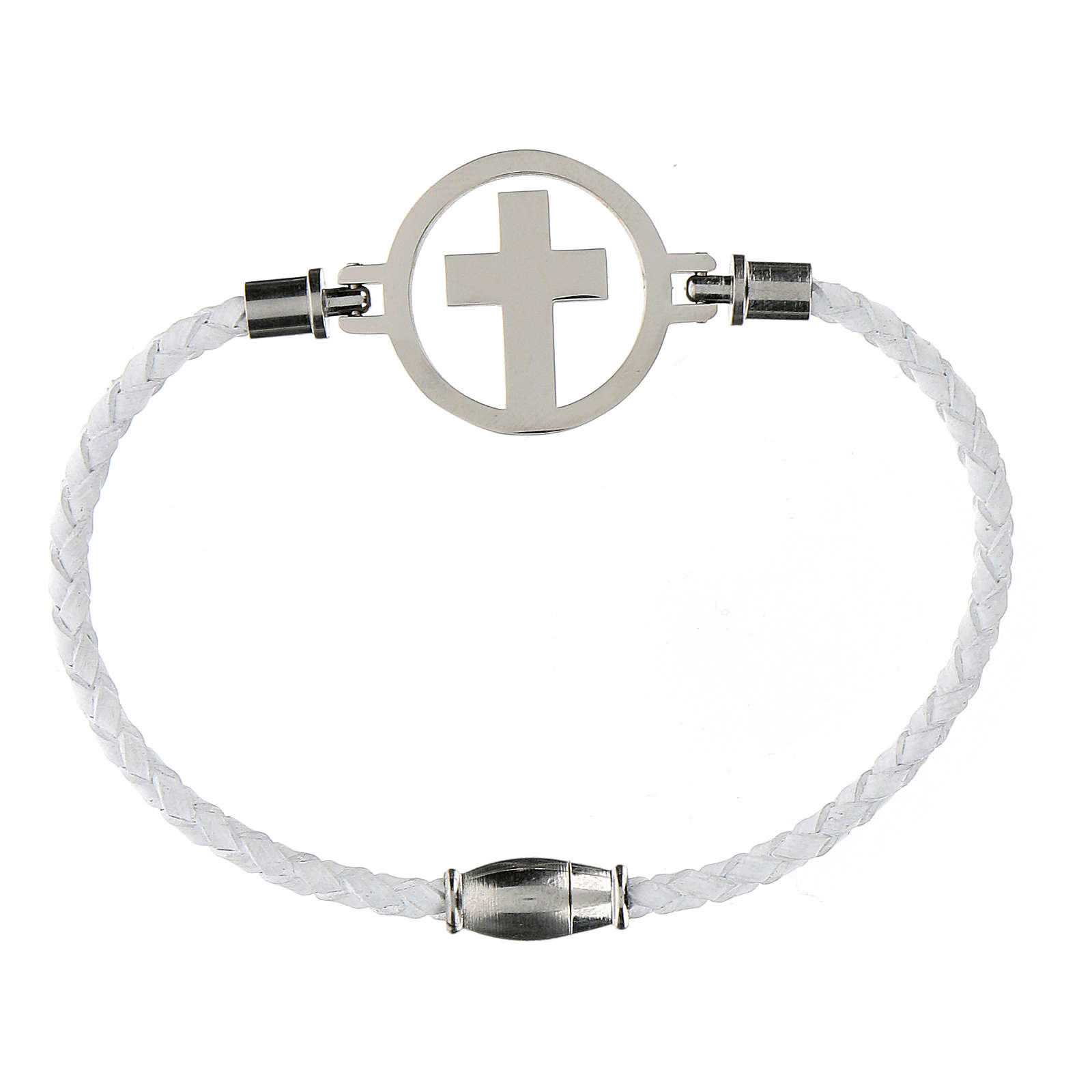 Bracciale Croce argento Medjugorje bianco 4