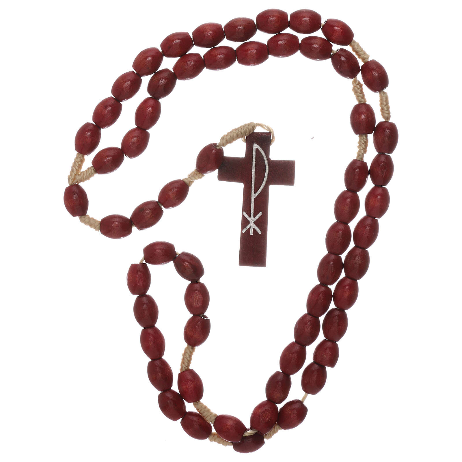 Red wood Medjugorje rosary Chi-Rho 4