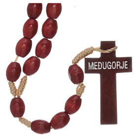 Red wood Medjugorje rosary Chi-Rho s2