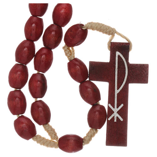 Red wood Medjugorje rosary Chi-Rho 1