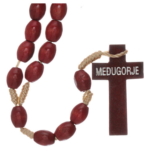 Red wood Medjugorje rosary Chi-Rho 2