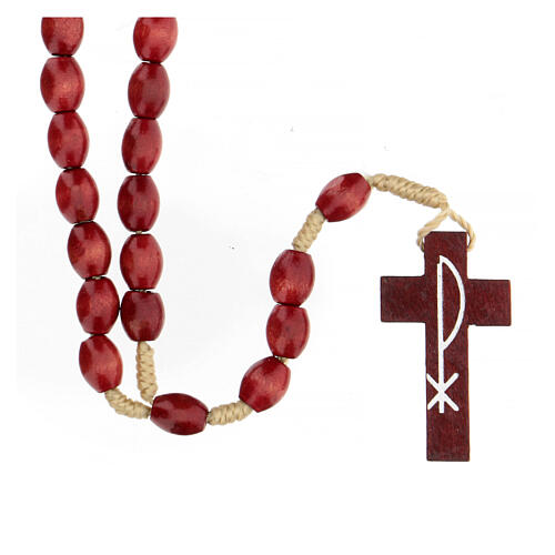 Red wood Medjugorje rosary Chi-Rho 5