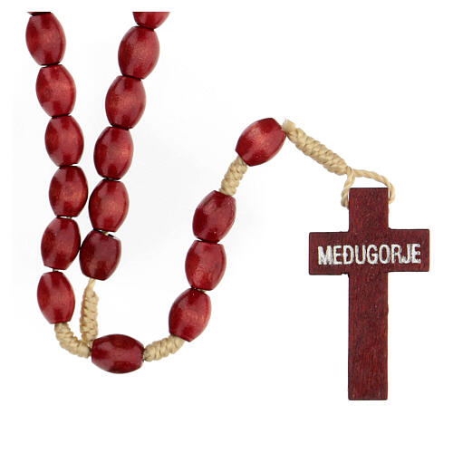 Red wood Medjugorje rosary Chi-Rho 6