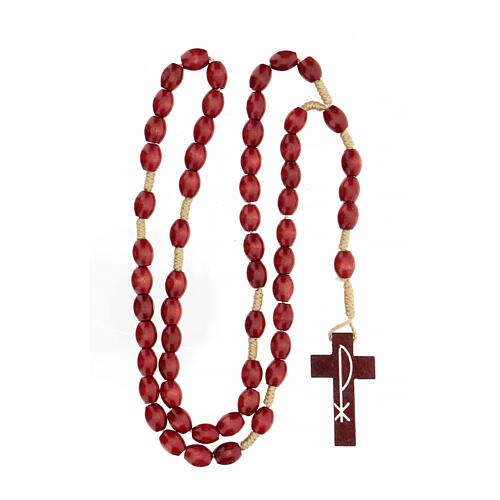 Red wood Medjugorje rosary Chi-Rho 8