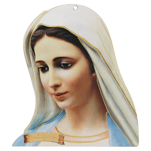 Imagen perfilada Virgen Medjugorje detalles oro 1